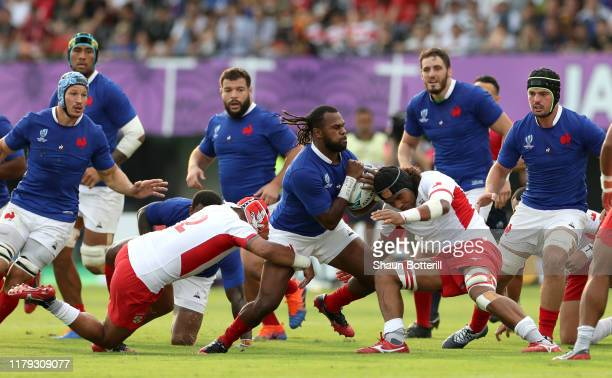 Alivereti Raka of France is tackled during the Rugby World Cup 2019 Group C game between France and Tonga at Kumamoto Stadium on October 06 2019 in...