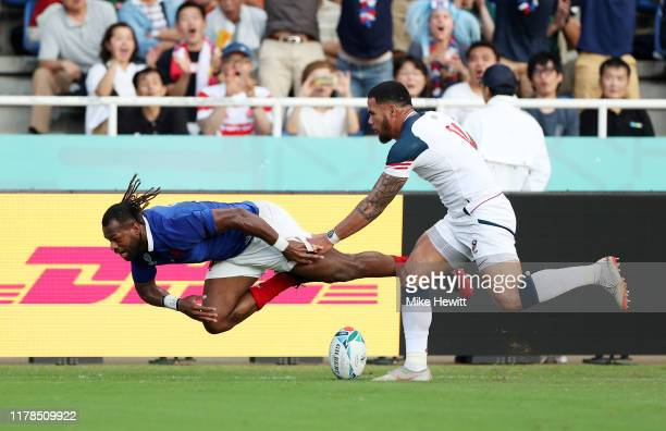 Alivereti Raka of France scores his side's second try during the Rugby World Cup 2019 Group C game between France and USA at Fukuoka Hakatanomori...