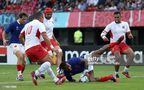 Alivereti Raka of France scores his team's second try during the Rugby World Cup 2019 Group C game between France and Tonga at Kumamoto Stadium on...