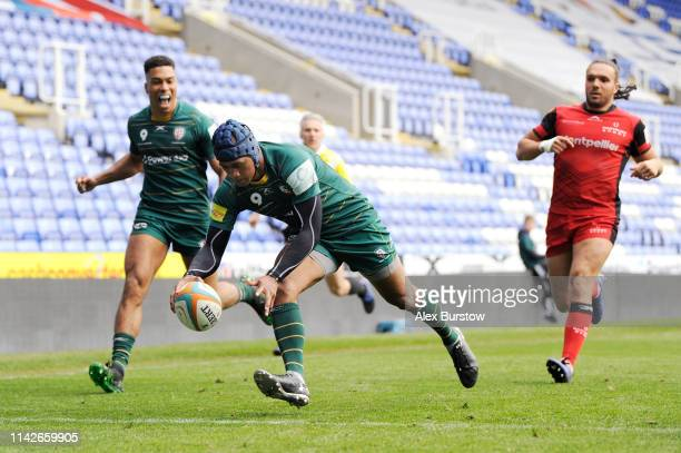 Alivereti Veitokani of London Irish touches down to score a try during the Greene King IPA Championship match between London Irish and Hartpury RFC...
