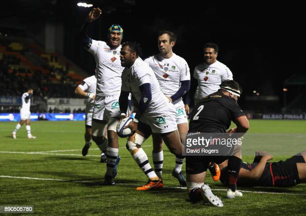 Aliveretti Raka of Clermont Auvergne celebrates after scoring his second try during the European Rugby Champions Cup match between Saracens and ASM...