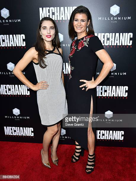 Alix Angelis and Carrie Lazar arrives at the Premiere Of Summit Entertainment's Mechanic Resurrection at ArcLight Hollywood on August 22 2016 in...