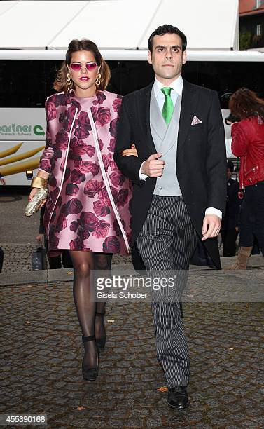 Alix Duvernoy and her boyfriend Martin Pacanowski attend the wedding of Maria Theresia Princess von Thurn und Taxis and Hugo Wilson at St Joseph...