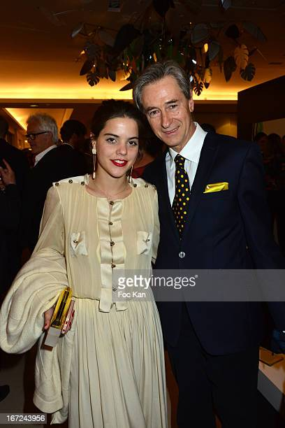 Alix Duvernoy and photographer Aramy Machry attend the 'Le Bresil Rive Gauche' Exhibition At Le Bon Marche on April 22 2013 in Paris France