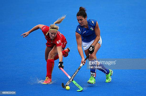 Alix Gerniers of Belgium battles for the ball with Chiara Tiddi of Italy during the EuroHockey Womens Pool C match between Belgium and Italy at Lee...