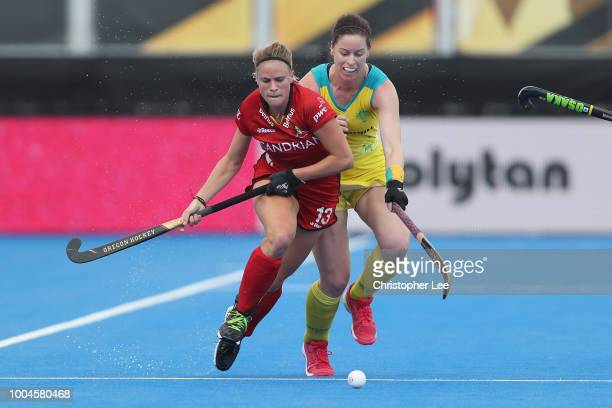 Alix Gerniers of Belgium battles with Kerri McMahon of Australia during the Pool D game between Australia and Belgium of the FIH Womens Hockey World...