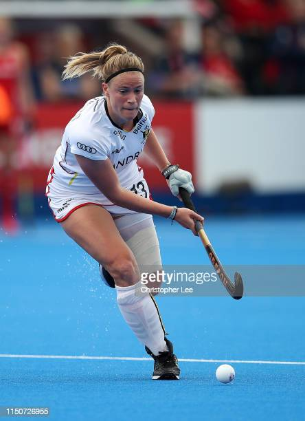 Alix Gerniers of Belgium in action during the Women's FIH Field Hockey Pro League match between Great Britain and Belgium at Lee Valley Hockey and...