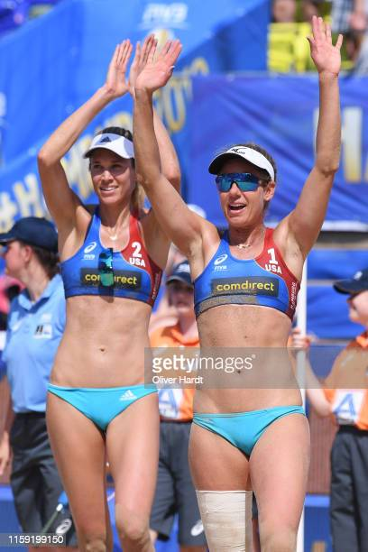 Alix Klineman and April Rose of United States of America celebrate after the match during day three between the match Alix Klineman and April Rose of...