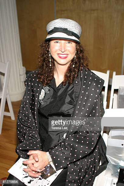 Alix Michel poses in the front row at the Alvin Valley Show during Olympus Fashion Week Spring 2005 at Bryant Park September 8 2004 in New York City
