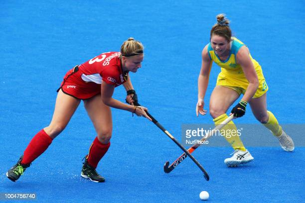 Alix of Belgium and COMMERFORD Kalindi of Australia during FIH Hockey Women's World Cup 2018 Day Three match Pool D GAME 10 between Australia and...