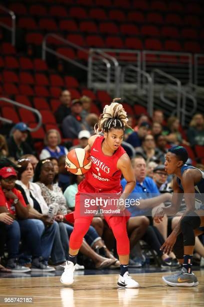 Alix of the Washington Mystics handles the ball against the Minnesota Lynx during a preseason game on May 6 2018 at the Wells Fargo Arena in Des...