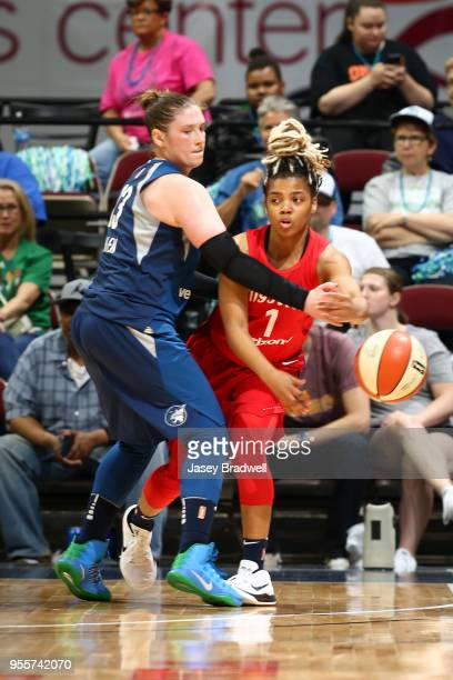 Alix of the Washington Mystics passes the ball against the Minnesota Lynx during a preseason game on May 6 2018 at the Wells Fargo Arena in Des...