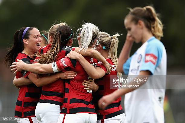 Alix Roberts of the Wanderers and team mates celebrate winning the round seven WLeague match between the Western Sydney Wanderers and Melbourne City...
