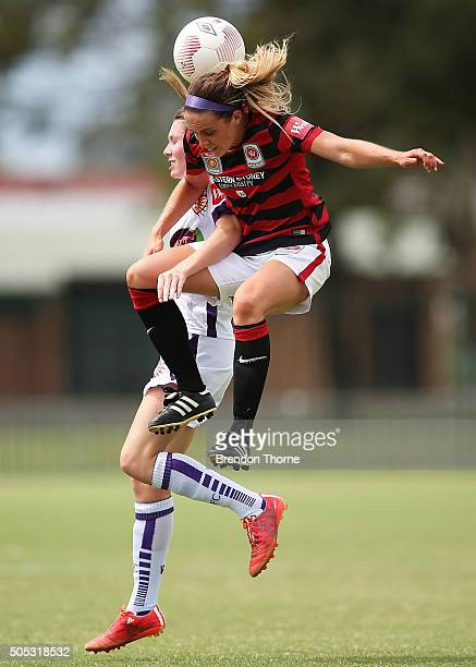 Alix Roberts of the Wanderers competes with Danielle Brogan of the Glory during the round 14 WLeague match between the Western Sydney Wanderers and...
