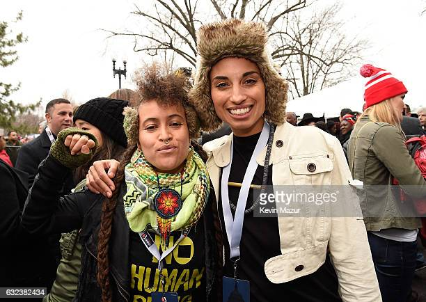 Alixa Garcia and Naima Penniman of Climbing PoeTree attend the Women's March on Washington on January 21 2017 in Washington DC