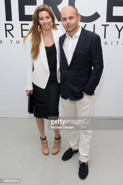 Alixe Boyer and David Belle attend the Fierce Creativity Art Exhibition Reception at The Flag Art Foundation on May 22 2013 in New York City