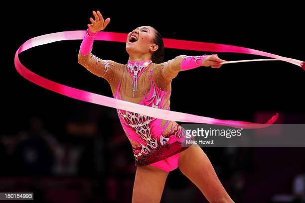 Aliya Garayeva of Azerbaijan competes during the Individual AllAround Rhythmic Gymnastics final on Day 15 of the London 2012 Olympics Games at...