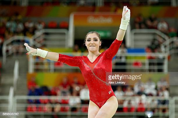 Aliya Mustafina of Russia celebrates after competing in the Women's Uneven Bars Final on Day 9 of the Rio 2016 Olympic Games at the Rio Olympic Arena...