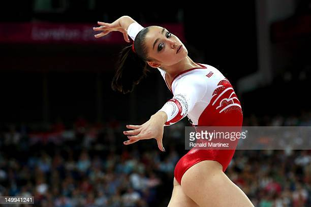 Aliya Mustafina of Russia competes in the Artistic Gymnastics Women's Floor Exercise final on Day 11 of the London 2012 Olympic Games at North...