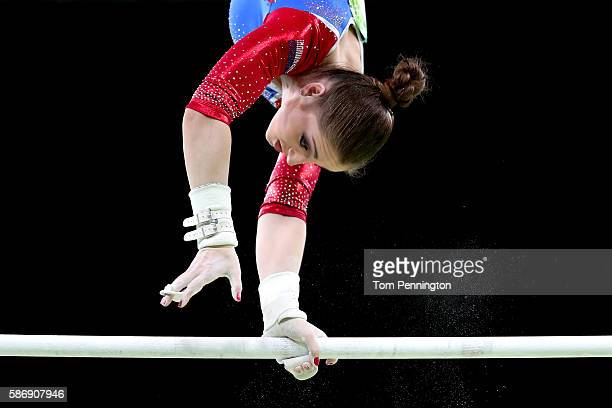 Aliya Mustafina of Russia competes in the uneven bars during Women's qualification for Artistic Gymnastics on Day 2 of the Rio 2016 Olympic Games at...