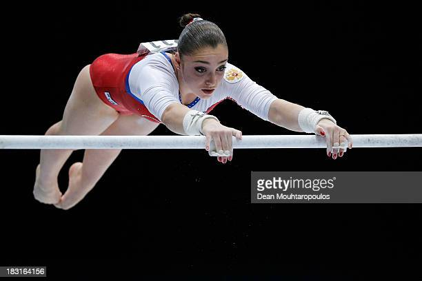 Aliya Mustafina of Russia competes in the Uneven Bars Final on Day Six of the Artistic Gymnastics World Championships Belgium 2013 held at the...