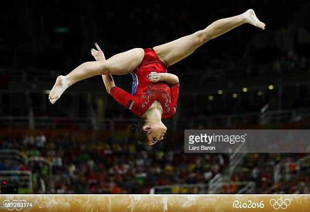 Aliya Mustafina of Russia competes on the balance beam during the Artistic Gymnastics Women's Team Final on Day 4 of the Rio 2016 Olympic Games at...