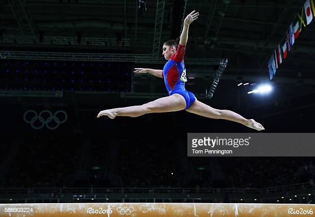 Aliya Mustafina of Russia competes on the balance beam during Women's qualification for Artistic Gymnastics on Day 2 of the Rio 2016 Olympic Games at...