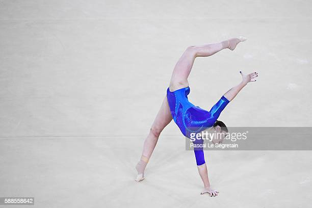 Aliya Mustafina of Russia competes on the floor during the Women's Individual All Around Final on Day 6 of the 2016 Rio Olympics at Rio Olympic Arena...