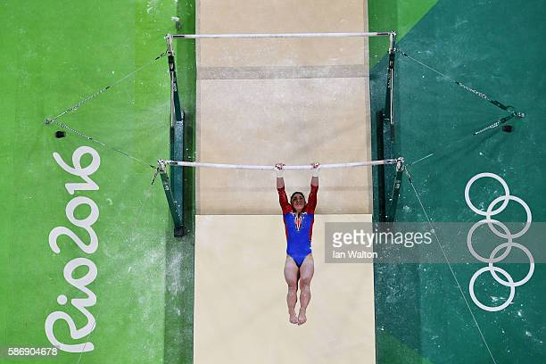 Aliya Mustafina of Russia competes on the uneven bars during Women's qualification for Artistic Gymnastics on Day 2 of the Rio 2016 Olympic Games at...