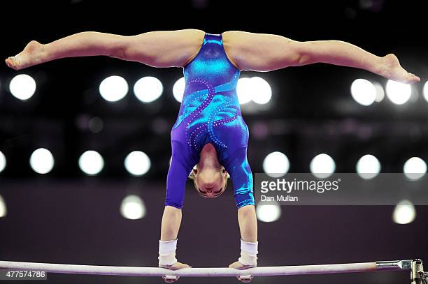 Aliya Mustafina of Russia competes on the Uneven Bars in the Women's Individual AllAround final on day six of the Baku 2015 European Games at...