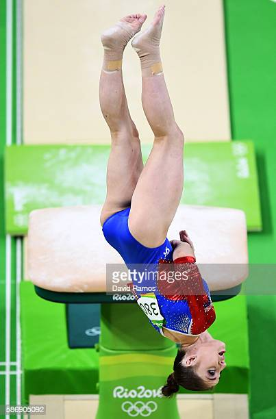 Aliya Mustafina of Russia competes on the vault during Women's qualification for Artistic Gymnastics on Day 2 of the Rio 2016 Olympic Games at the...