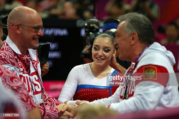 Aliya Mustafina of Russia looks on after competing in the Artistic Gymnastics Women's Uneven Bars final on Day 10 of the London 2012 Olympic Games at...