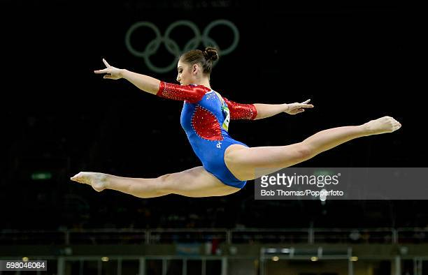 Aliya Mustafina of Russia on the beam during the Women's qualification for Artistic Gymnastics on Day 2 of the Rio 2016 Olympic Games at the Rio...