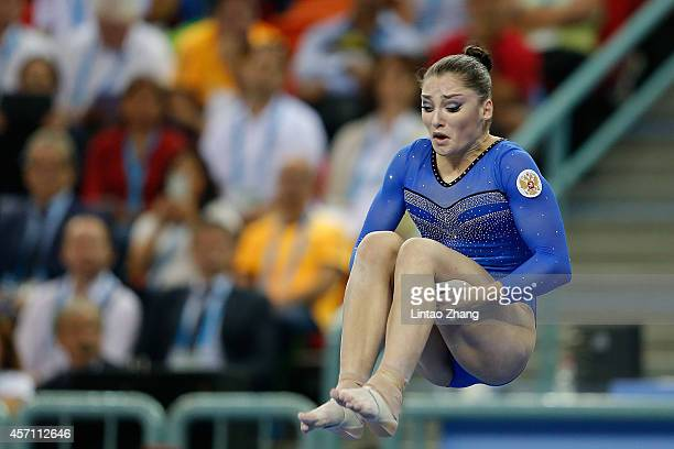 Aliya Mustafina of Russia performs on the Balance Beam during the Women's Balance Beam Final on day six of the 45th Artistic Gymnastics World...