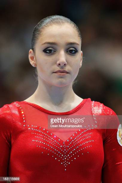 Aliya Mustafina of Russia poses after her third place in the Womens AllRound Final on Day Five of the Artistic Gymnastics World Championships Belgium...