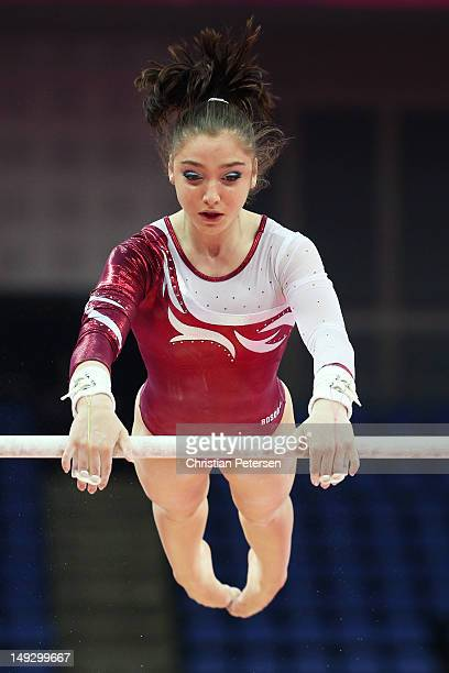 Aliya Mustafina of Russia practises on the Asymetric Bars during training sessions for artistic gymnastics ahead of the 2012 Olympic Games at...