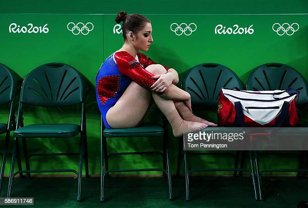 Aliya Mustafina of Russia reacts during Women's qualification for Artistic Gymnastics on Day 2 of the Rio 2016 Olympic Games at the Rio Olympic Arena...