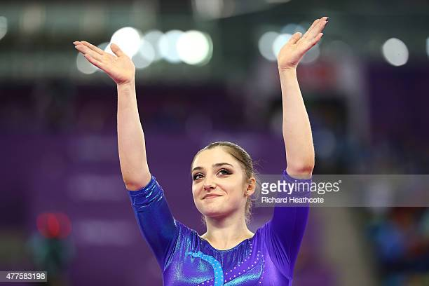 Aliya Mustafina of Russia waves to the fans after winning gold in the Women's Individual AllAround final on day six of the Baku 2015 European Games...