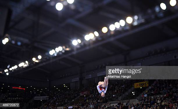 Aliya Mustafina of Russland performs her balance beam routine in the Women's AllAround Competition during the EnBW Gymnastics Worldcup 2014 at the...
