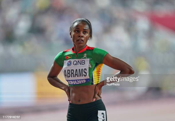 Aliyah Abrams of Guyana competing in the 200 meter for women during the 17th IAAF World Athletics Championships at the Khalifa Stadium in Doha Qatar...
