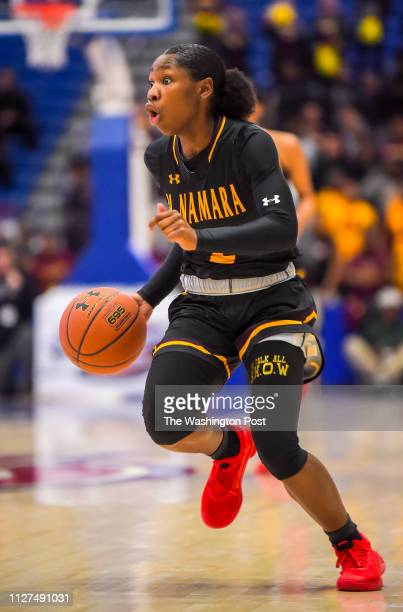 Aliyah Matharu of Bishop McNamara dribbles against the St John's Cadets during the WCAC championship game at Bender Arena on February 25 2019 in...