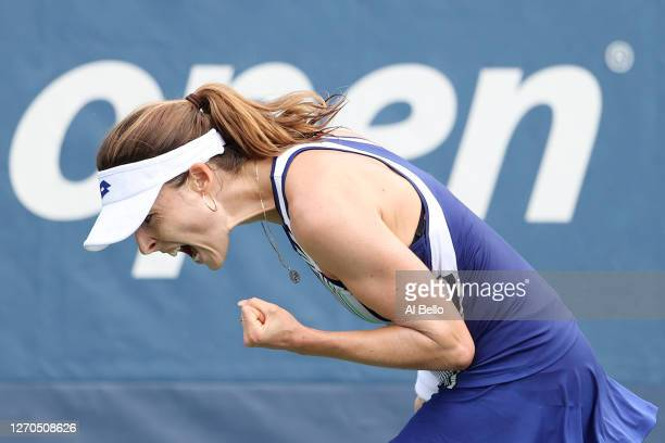 Alizé Cornet of France reacts during her Women's Singles second round match against Ysaline Bonaventure of Belgium on Day Four of the 2020 US Open at...