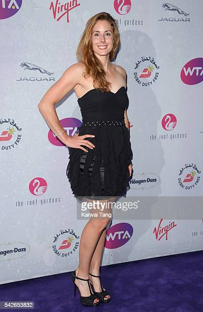 Alize Cornet arrives for the WTA PreWimbledon Party at Kensington Roof Gardens on June 23 2016 in London England