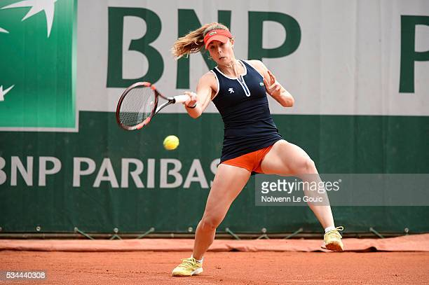 Alize Cornet during the Women's Singles Second round on day five of the French Open 2016 at Roland Garros on May 26 2016 in Paris France