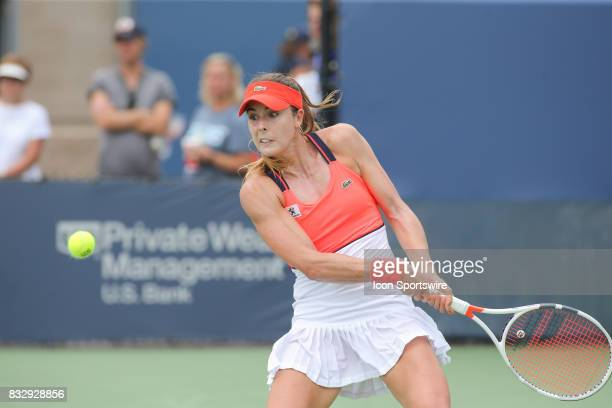 Alize' Cornet hits a backhand during the Western Southern Open at the Lindner Family Tennis Center in Mason Ohio on August 16 2017