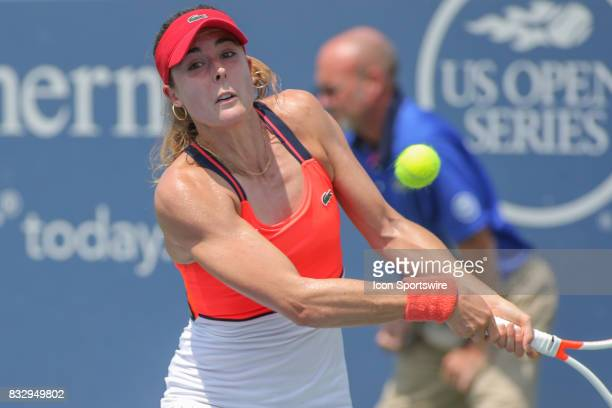 Alize' Cornet hits a backhand during the Western Southern Open at the Lindner Family Tennis Center in Mason Ohio on August 15 2017