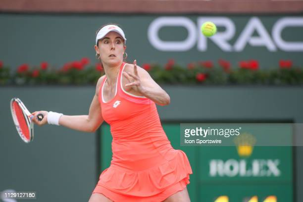 Alize Cornet hits a forehand during the BNP Paribas Open on March 7 2019 at Indian Wells Tennis Garden in Indian Wells CA