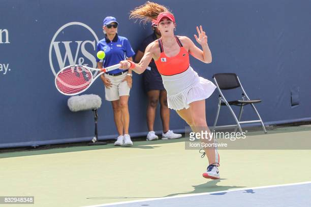 Alize' Cornet hits a forehand during the Western Southern Open at the Lindner Family Tennis Center in Mason Ohio on August 15 2017