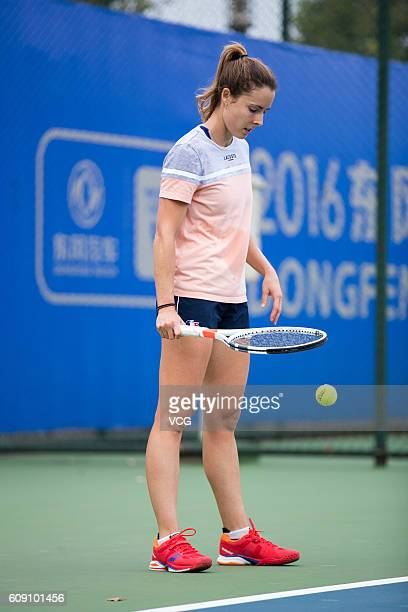 Alize Cornet of France attends a training session at Optics Valley International Tennis Center ahead of the 2016 WTA Dongfeng Motor Wuhan Open on...