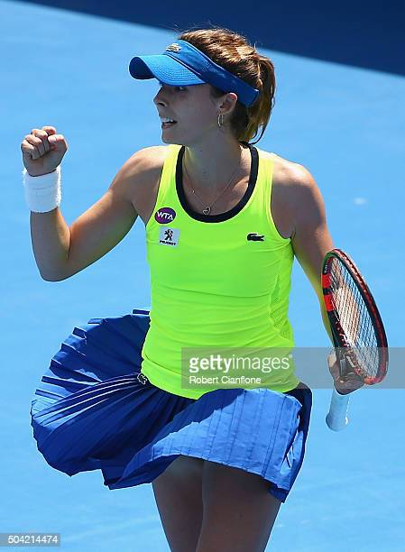 Alize Cornet of France celebrates after she defeated Denisa Allertova of Czech Republic in the women's single match during day one of 2016 Hobart...
